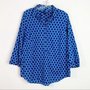 LANDS' END | Moroccan Print Popover Top Sz. 16W
